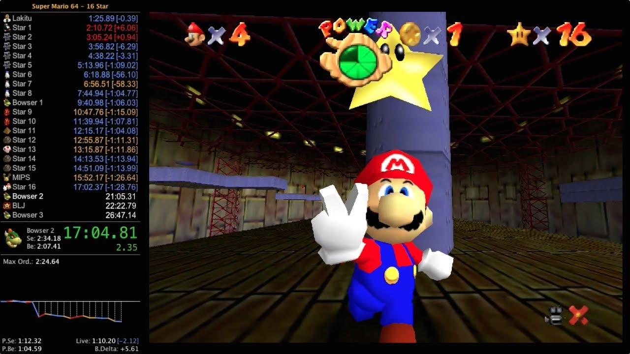 Imagen de un speedrun del Mario 64 mostrando los tiempos obtenidos.