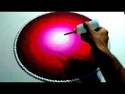 Birds scenery rangoli easy and attractive step by step. thumbnail