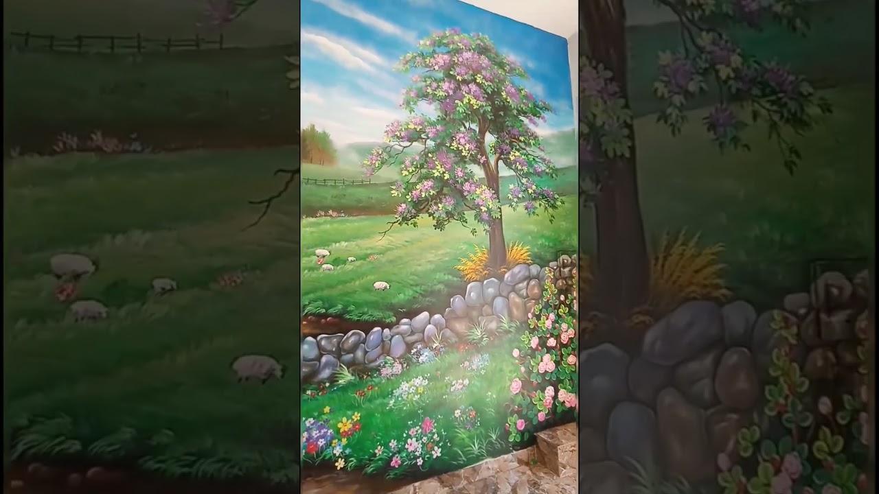 Vẽ tranh tường phong cảnh cánh đồng hoa tại Đống Đa, Hà Nội – Wall painting T–Art Ha Noi Zalo 079911