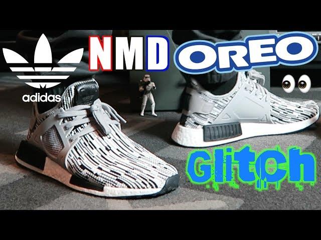 scarpe da ginnastica finezza adidas nmd rt oreo glitch primeknit in piedi!video!