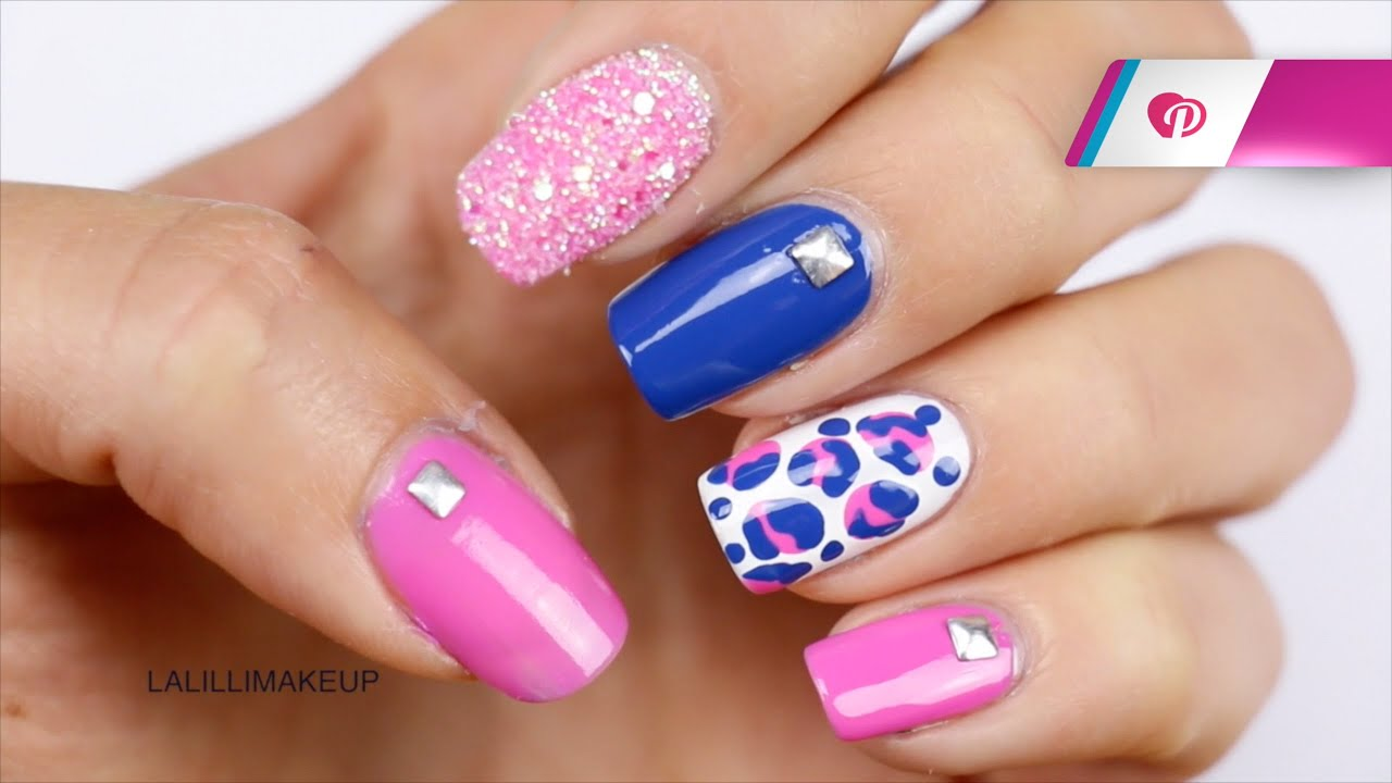 Nail Art colorata: blu, rosa, bianco e glitter - Tutorial ...