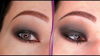 Черный блестящий макияж глаз в стиле смоки айс Пошаговый урок