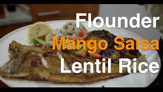Flounder, Mango Salso, Sweet Plaintains, And Lentil Rice