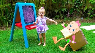 Cute Kid and Toys into Surprise box