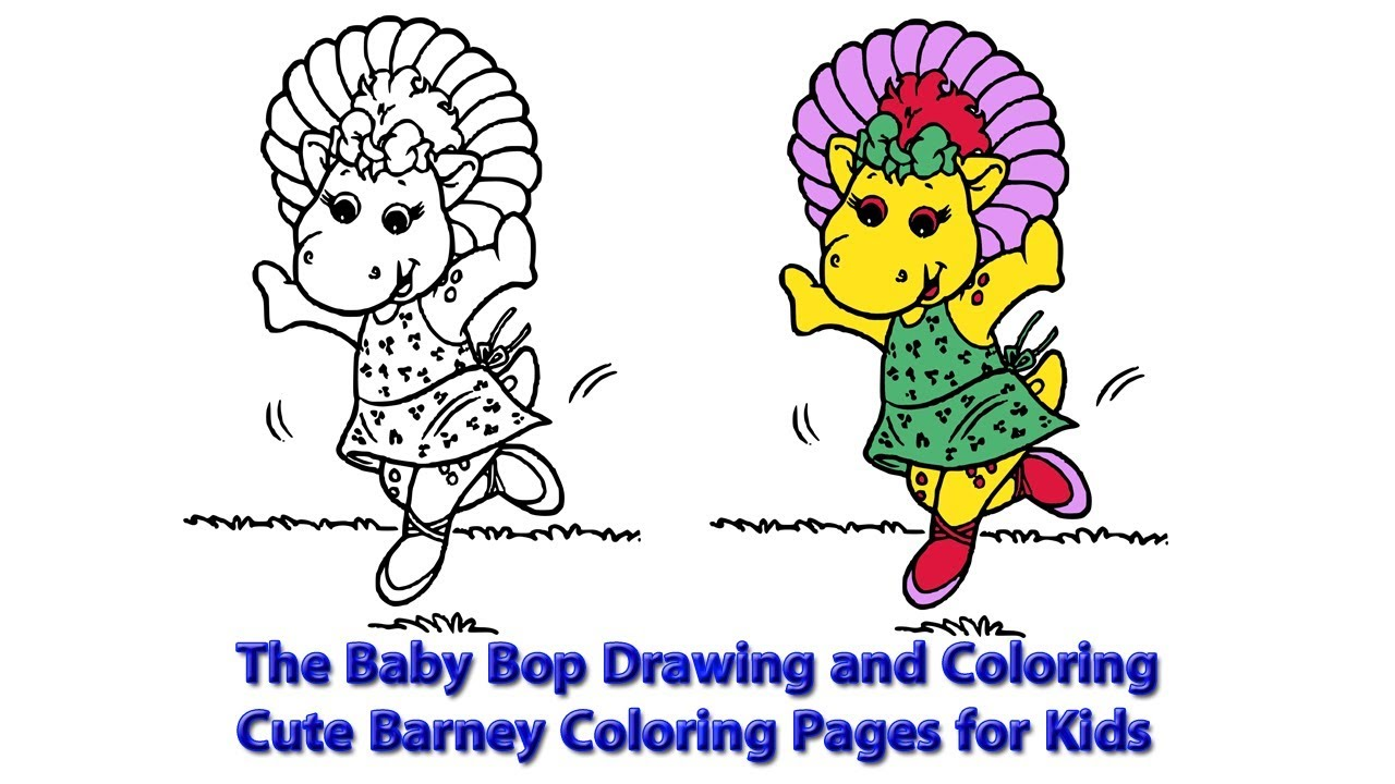 The Baby Bop Drawing And Coloring Cute Barney Coloring Pages For Kids Youtube