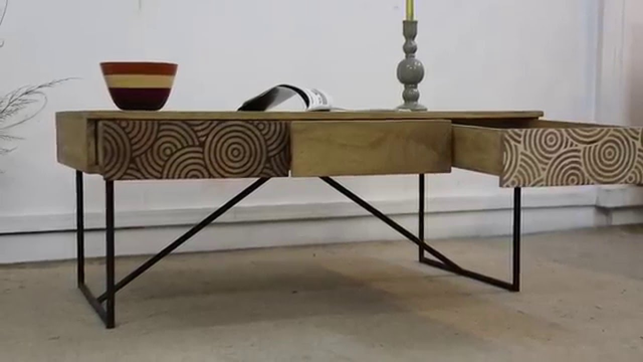 Table basse bois m tal tiroirs youtube for Table basse en metal scandinave