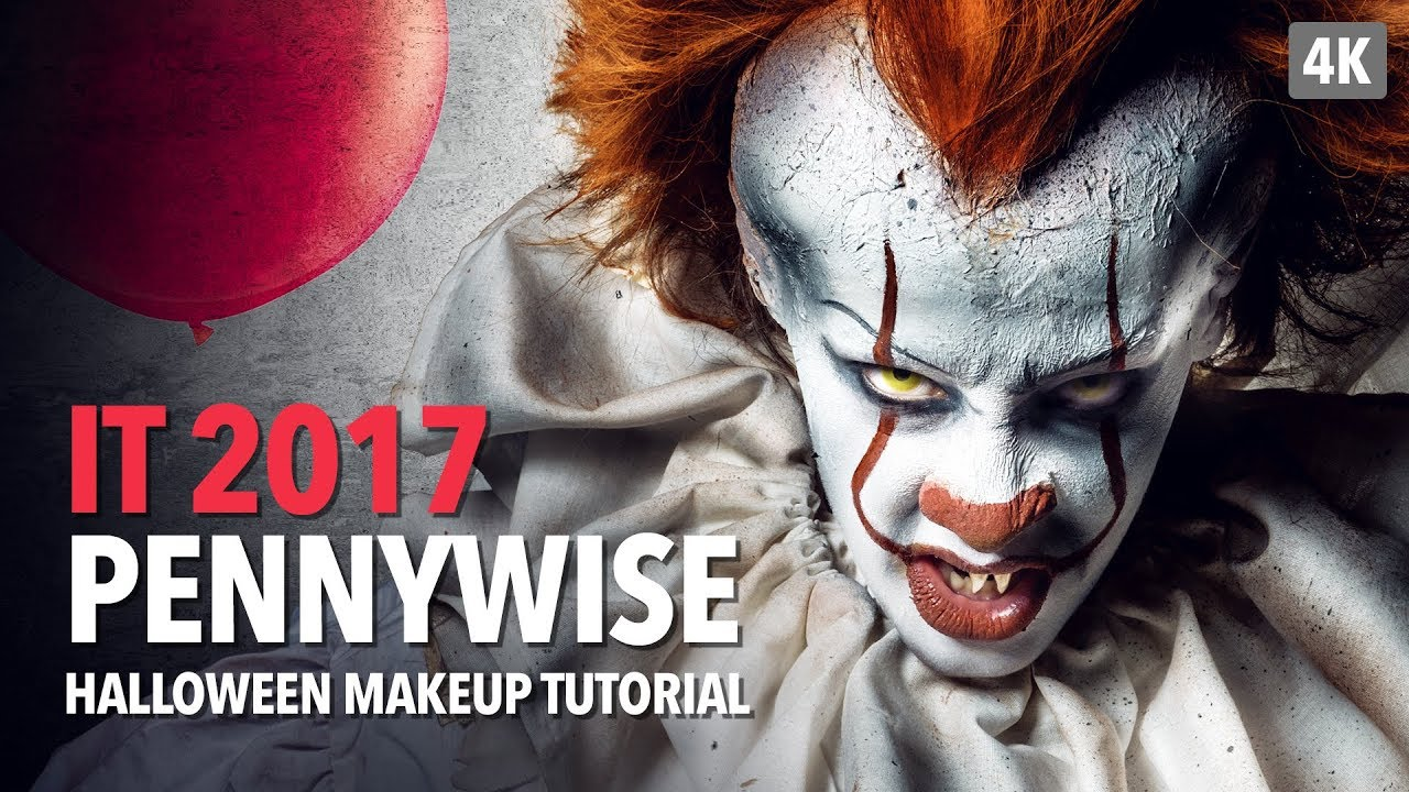 It 2017 - Pennywise Halloween Makeup Tutorial - YouTube