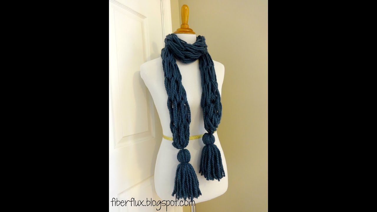 Knitting Pattern Scarf With Fringe : Episode 45: How to Make the Arm Knit Tassel Scarf - YouTube