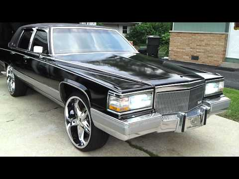 "1990 Cadillac Fleetwood Brougham on 24""s w/ fresh black paint"