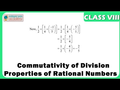 Commutativity of Division Properties of Rational Numbers  - Maths Class VIII - CBSE/ ISCE/ NCERT