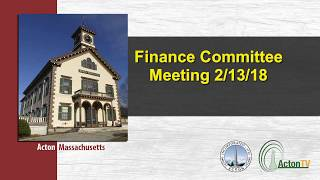 Finance Committee Meeting 2/13/18