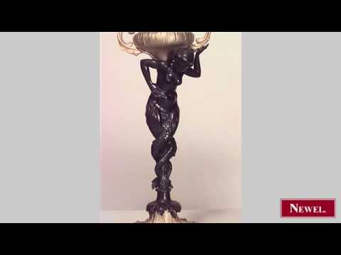 Antique Pair of French Victorian bronze table lamps with