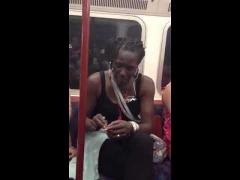 Jamaican woman smoking weed on the underground