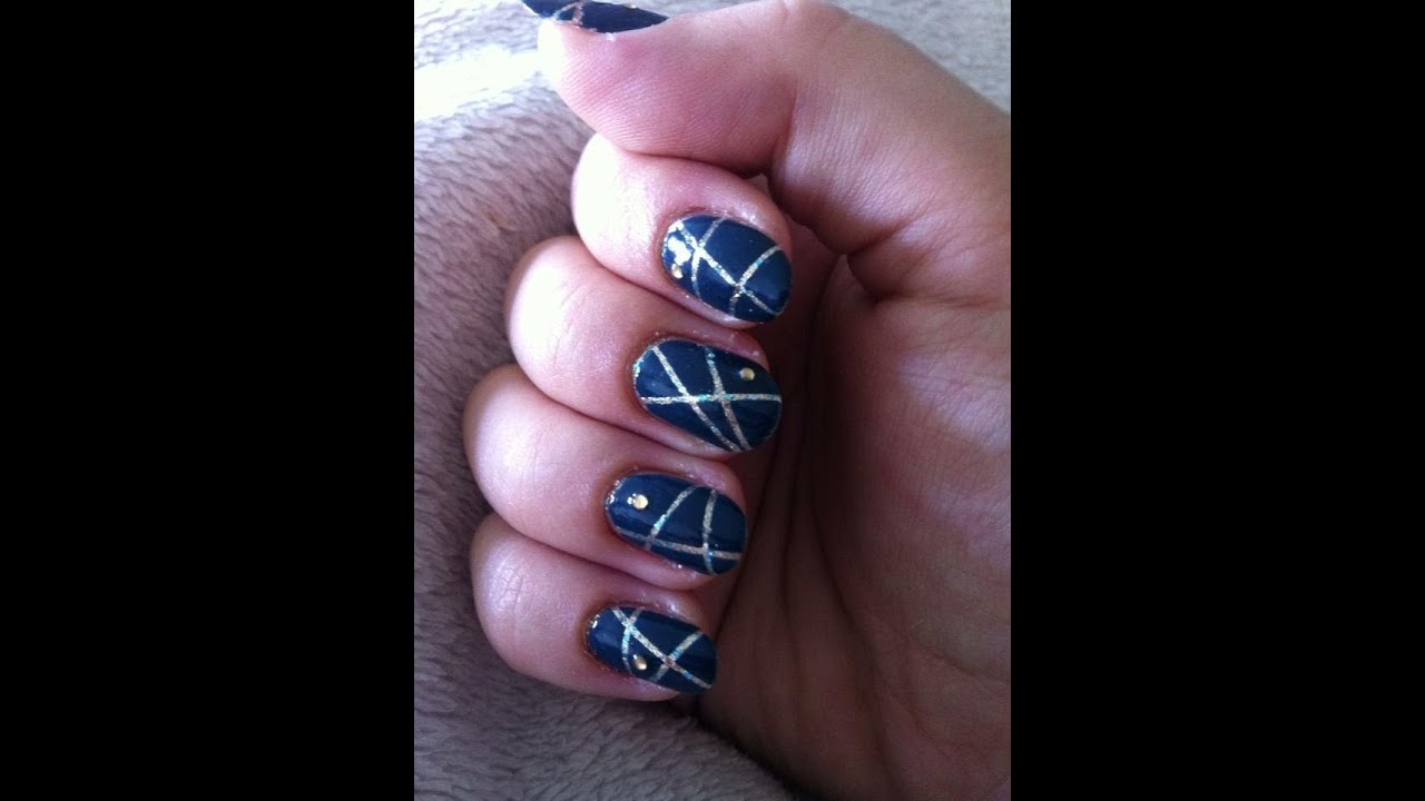 Relativ Nail art bleu et or - YouTube CL58