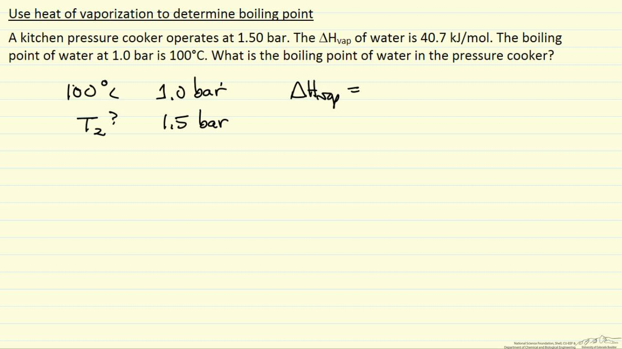 Boiling Point from Heat of Vaporization (Example) - YouTube