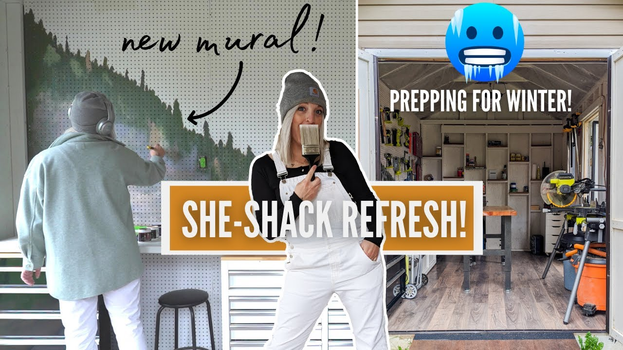 my she-shed got a fall makeover! ❄ *NEW PEGBOARD MURAL*   DIY DANIE
