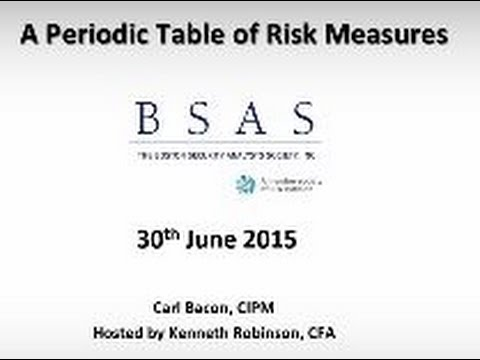 BSAS WEBINAR: A Periodic Table of Risk Measures