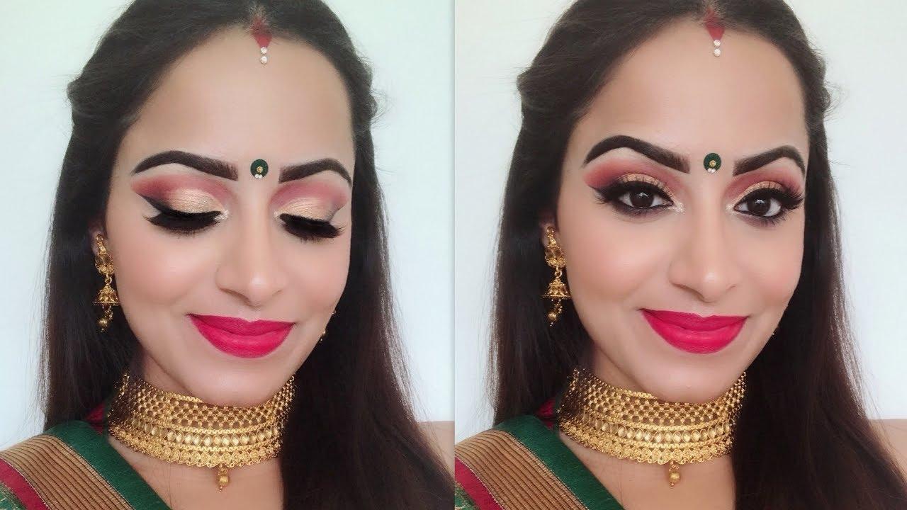 Durga Puja Makeup | Karvachauth/Diwali Festival Makeup and Hair  (HINDI)| Deepti Ghai Sharma