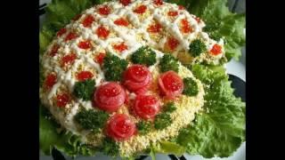 Красивое оформление салатов - лучшие идеи.  Салаты на новый год 2017.