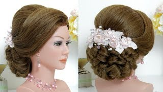 Beautiful Hairstyle With Puff Step By Step. Bridal Hair
