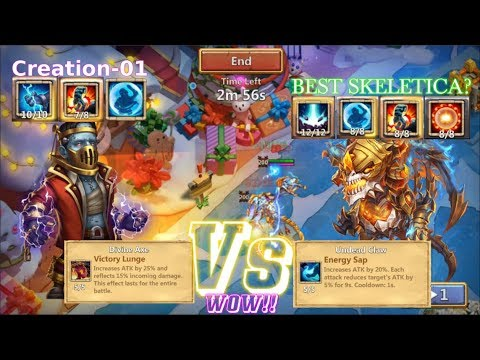 CREATION-01 Vs SKELETICA (8Stone Skin, 8Bulwark,8 Scorch) BEST SKELETICA? Castle Clash