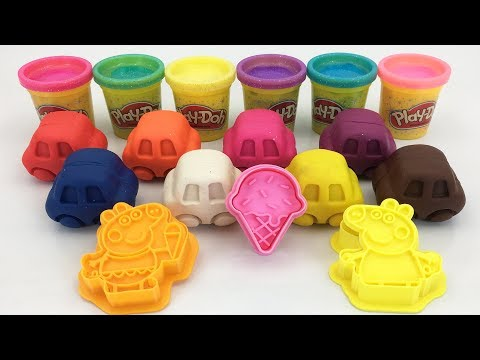 Play Doh Ice Cream Peppe Pig Cars Lion Animal Molds Fun And Learn Colours Creative For Children