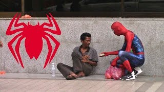 SPIDER MAN HELPING THE HOMELESS IN MALAYSIA!
