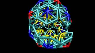Self-assembly of a T=3 icosahedral shell