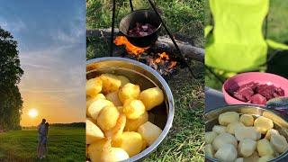 Отдых на природе Рецепт вкусного картофеля с мясом в казане Простые рецепты на природе