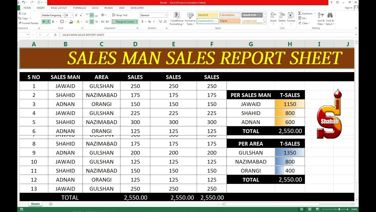 #150 How To Make Sales Man Sales Report Sheet on Excel ...