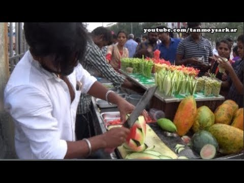 Fruit Ninja Of India (Ep 1) Amazing Fruit Cutting Skill, Marina Beach, Chennai | Indian Street Foods