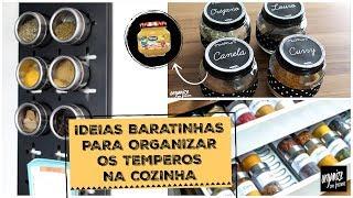 4 IDEIAS BARATINHAS PARA ORGANIZAR OS TEMPEROS NA COZINHA | Organize sem Frescuras!