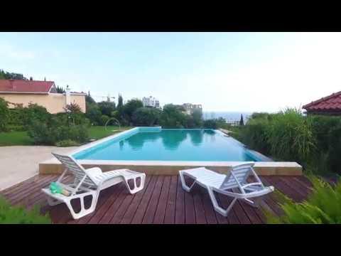 Аэросъёмка дома с бассейном в Гурзуфе (Крым. Ялта)