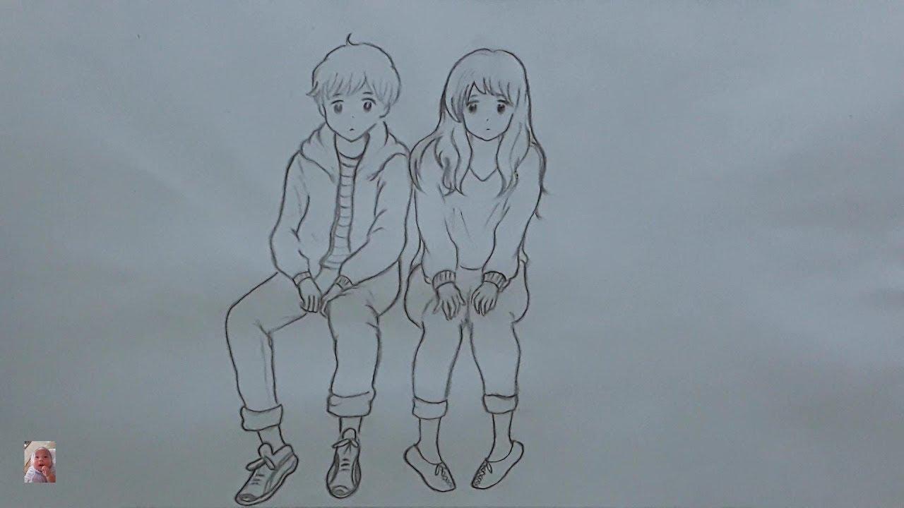 Vẽ đôi bạn đáng yêu,Vẽ tranh bằng bút chì – Draw your lovely couple, Draw a picture with a pencil.