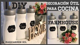 DIY decoración juego de cocina con frascos reciclados