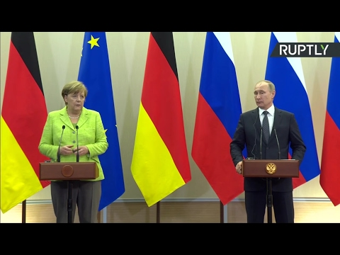 Vladimir Putin and German Chancellor Angela Merkel holding a joint press conference - 2nd May 2017