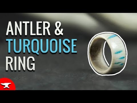 DIY ANTLER & TURQUOISE RING (EASY) - how to make and inlay tutorial