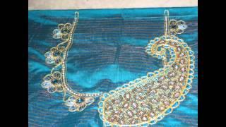 Hand made zardozi & aari work on blouse by Amirtha Part 1
