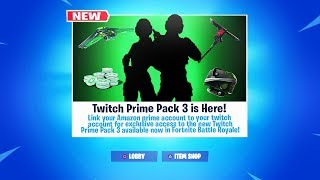 "New *FREE* ""TWITCH PRIME PACK 3"" RELEASE DATE! (Fortnite FREE SKIN PACK)"