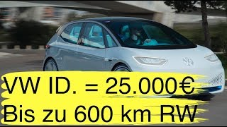 VW ID. ab 25.000 Euro + bis zu 600 km + VW e-Transporter 400 km Reichweite I Tesla Model 3 Crashtest