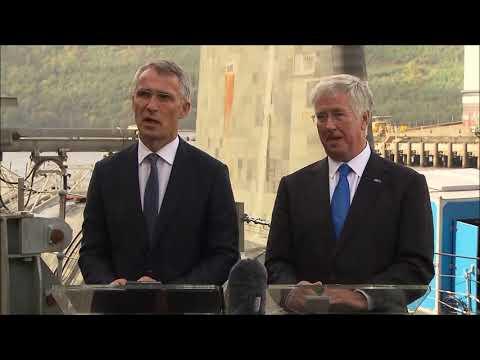 SCOTLAND: 9/29/17. NATO Presser on Nuclear Threat & UK's 350th Nuclear Submarine Patrol.