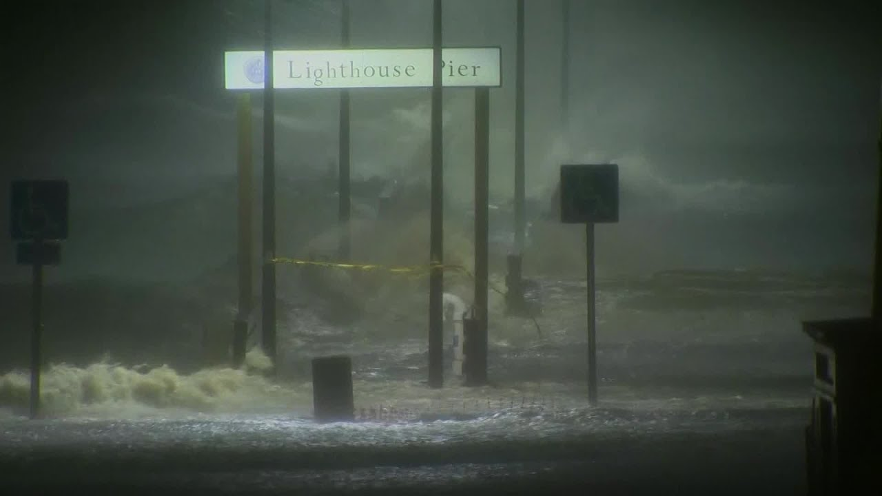 Nate Storm Surge At Lighthouse Pier In Biloxi Youtube