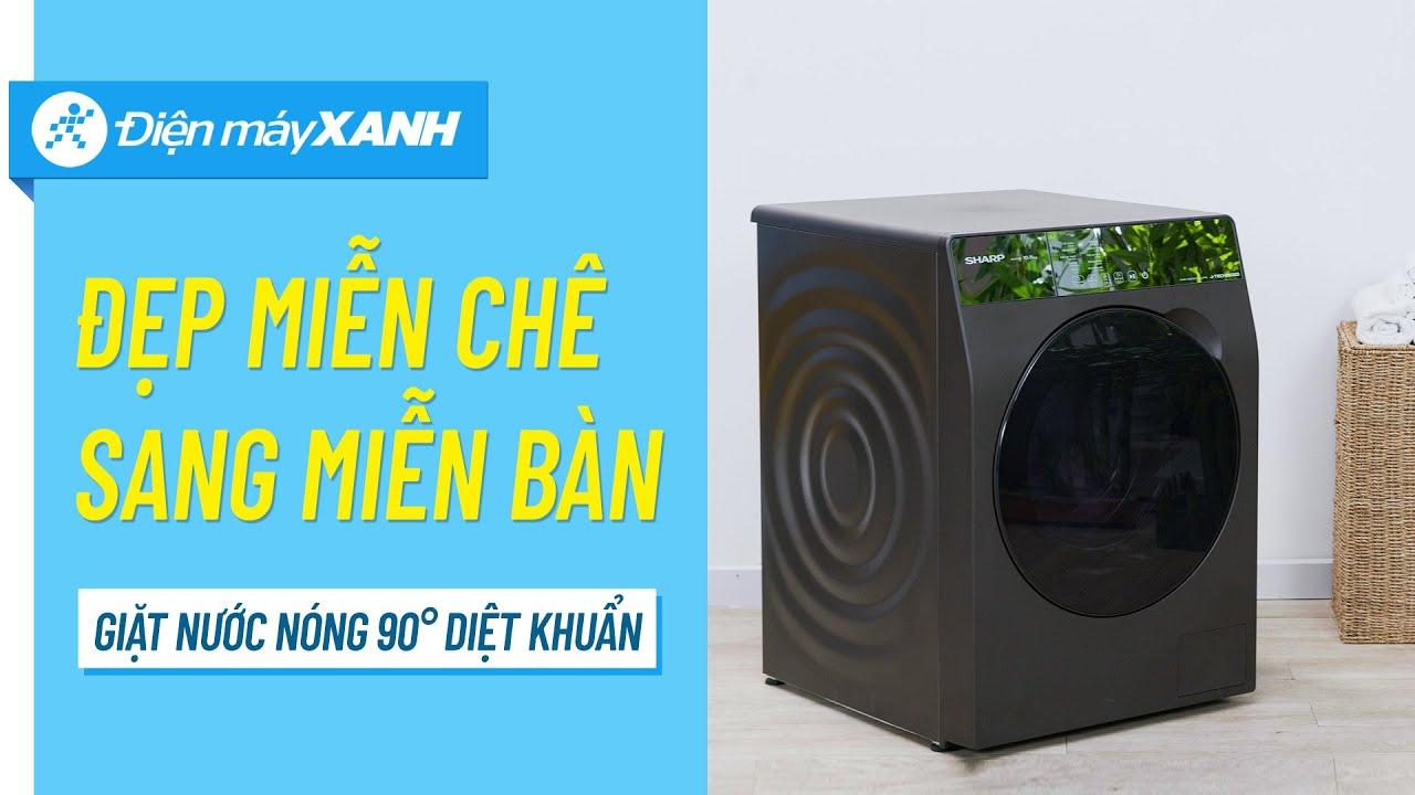 Máy giặt Sharp 10.5 Kg: giặt nước nóng 90 độ, tiết kiệm điện, nước (ES-FK1054SV-G) • Điện máy XANH