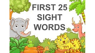 First 25 Sight Words For Kindergarten Preschool - Kids Flashcard Learning Vocabulary Words Fry