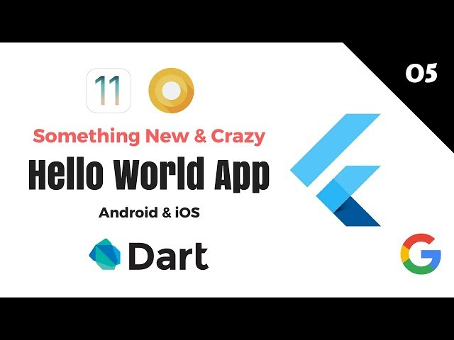 Google's Flutter Tutorials  | 5 - Hello World App | Something New & Crazy | Android & iOS | Dart