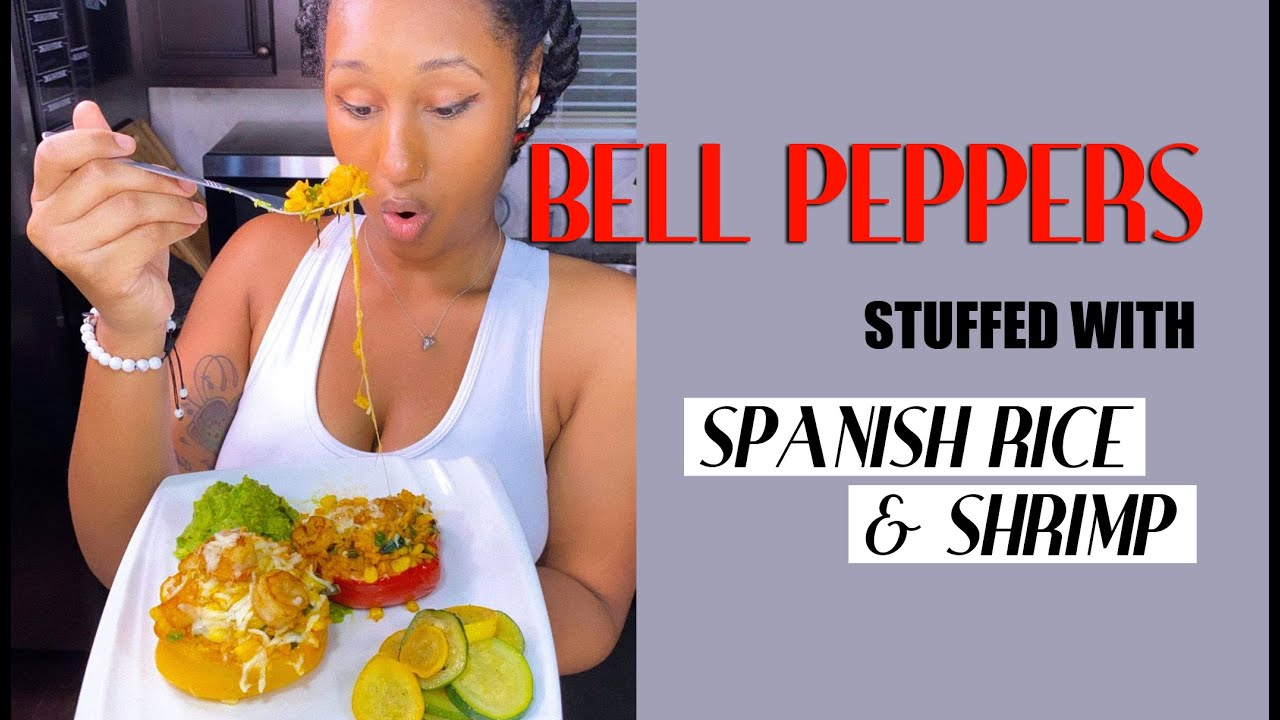 Bell Peppers Stuffed with Spanish Rice & Shrimp!