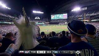 Fan is seen wearing unicorn mask at game
