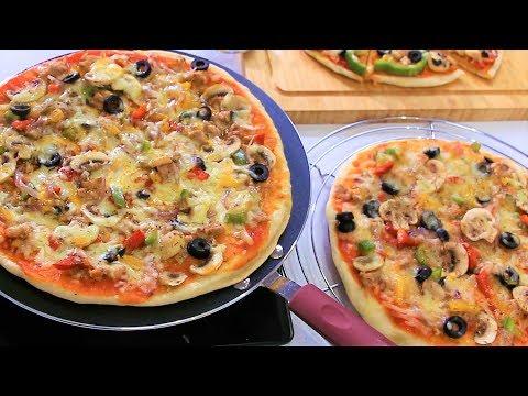 بيتزا بدون فرن لذيذة وشهية بعجين هش سهل التحضير الشيف نادية |  pizza sans four