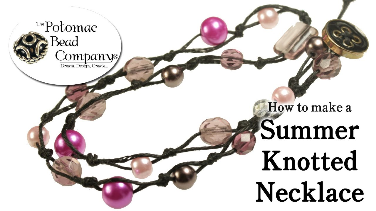 how to make a summer knotted necklace diy