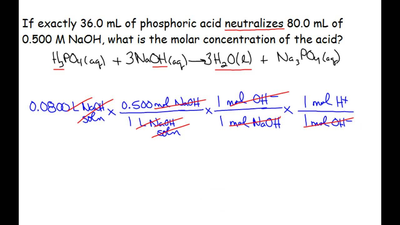 solution stoichiometry neutralization with molar